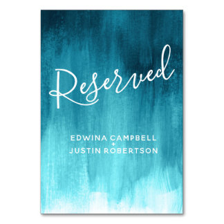 Teal aqua abstract wash modern art table reserved card