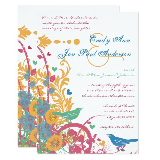 Teal Aqua Beeswax Raspberry Green Lovebird Wedding Card