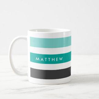 Teal, aqua blue and dark gray stripes personalized basic white mug