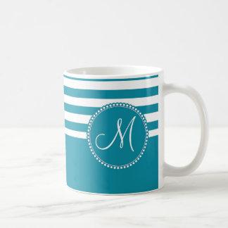 Teal Aqua Blue and White Striped Monogram Basic White Mug
