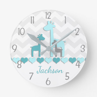 Teal Aqua Grey Giraffe Nursery Wall Clock