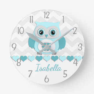 Teal Aqua Grey Owl Nursery Wall Clock