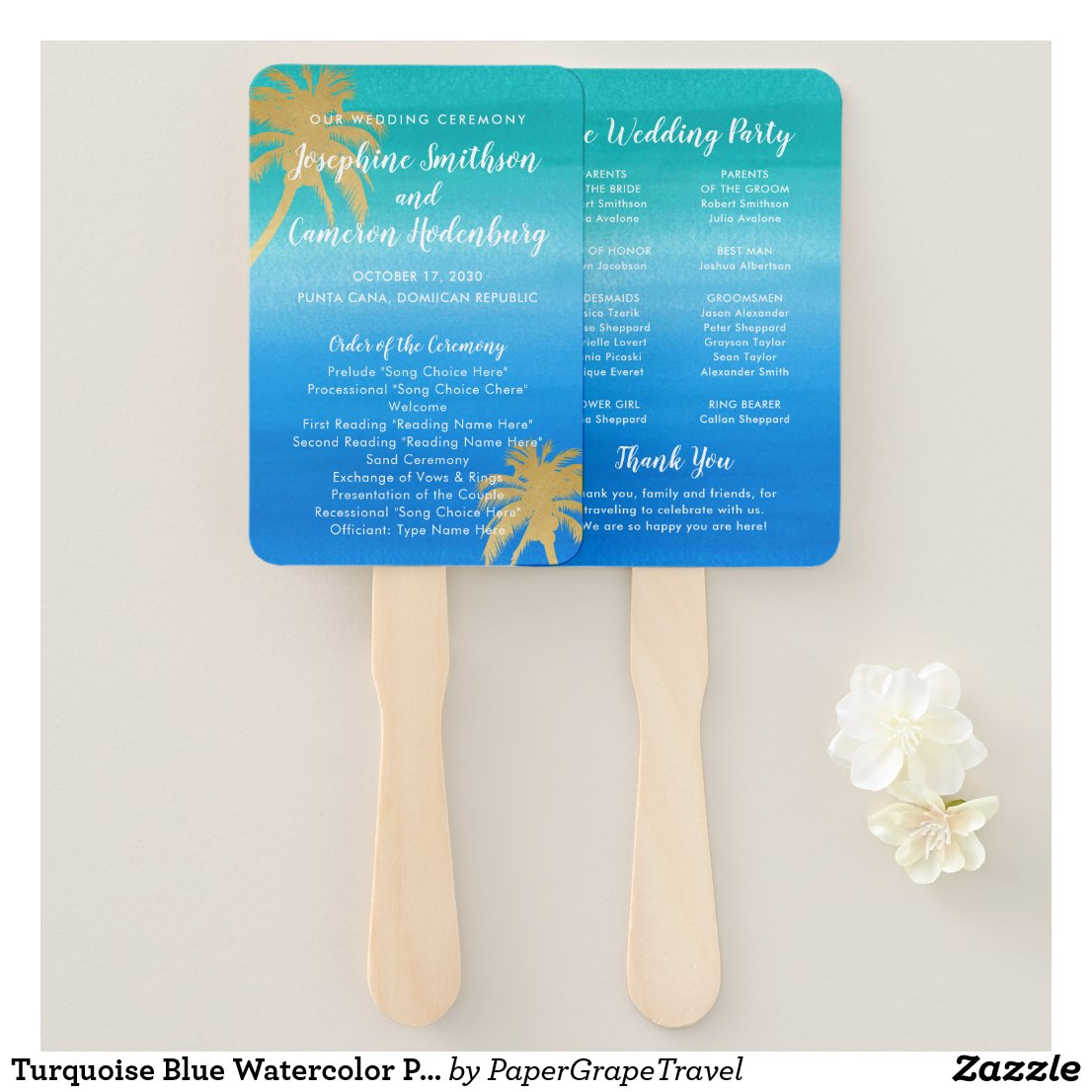 Teal & Aqua Ombre Palm Beach Wedding Program Hand Fan