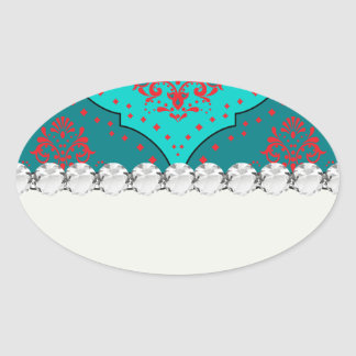 teal aqua red white henna style damask oval sticker