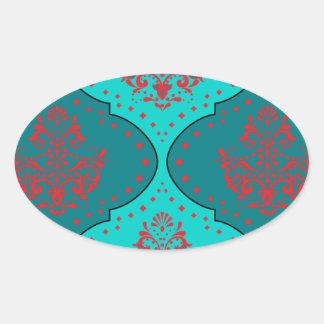 teal aqua red white henna style damask sticker