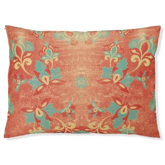 Teal, Aqua, Tangerine, Orange Abstract Floral Pet Bed