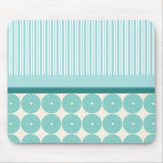 Teal Aqua Turquoise Blue Stripes Circles Pattern Mouse Pad