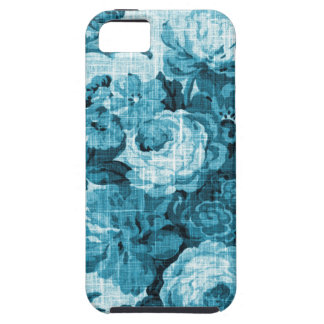 Teal Aqua Vintage Floral Toile Fabric No.4 iPhone 5 Case