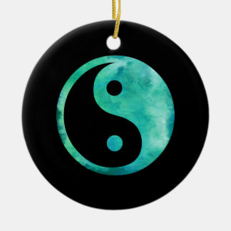 Teal Aqua Watercolor Yin Yang Taoism Balance Christmas Ornament