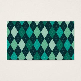 Teal argyle pattern business card