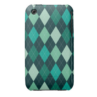 Teal argyle pattern iPhone 3 cases