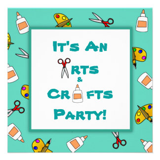Teal Arts and Crafts Children's Birthday Party Custom Invitation