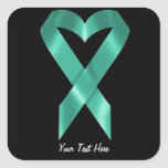 Teal Awareness Ribbon (customisable) Square Sticker