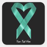 Teal Awareness Ribbon (customisable) Square Sticker