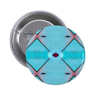 Teal Baby Blue Geometric Criss-cross Pattern 6 Cm Round Badge