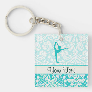 Teal Ballet Double-Sided Square Acrylic Key Ring