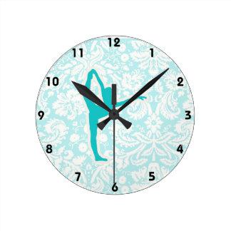 Teal Ballet Round Clock