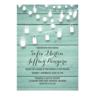 Teal Barn Wood and Mason Jar Lights Wedding Card