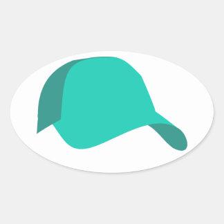 Teal baseball cap oval sticker