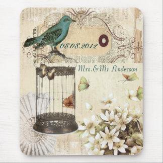 Teal Bird vintage floral botanical wedding Mouse Mat