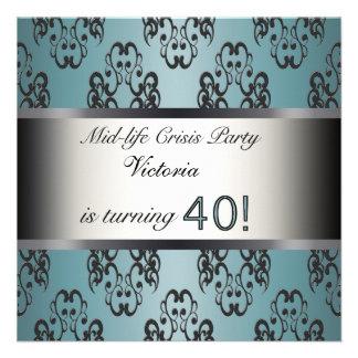 Teal Black 40th Birthday Party Invitation