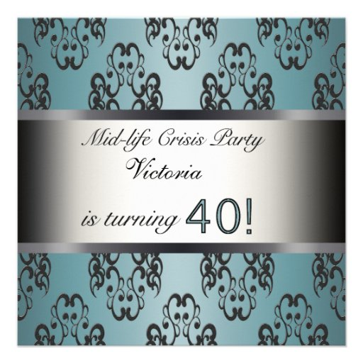 Teal Black 40th Birthday Party Invitation