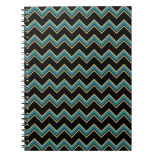 Teal Black and Gold Chevron Notebook