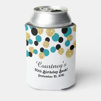 Teal, Black and Gold Glitter Confetti | 30th Can Cooler