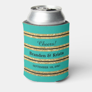 Teal Black and Gold Glitter Stripes | Wedding Can Cooler