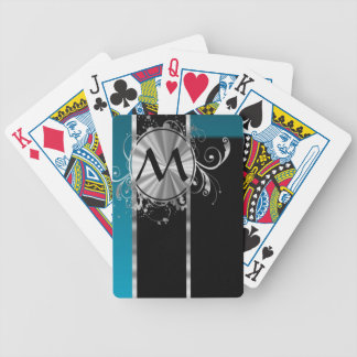 Teal black and silver monogram bicycle playing cards