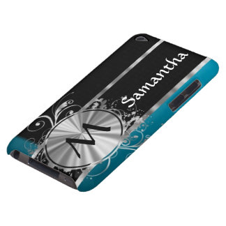 Teal black and silver monogram iPod Case-Mate case