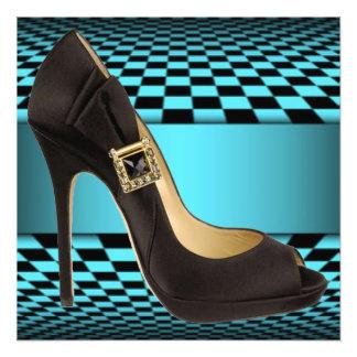 Teal Black Checker Board High Heel Design Art Photo