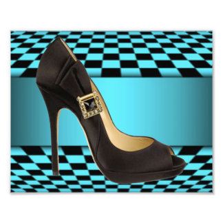 Teal Black Checker Board High Heel Design Photo