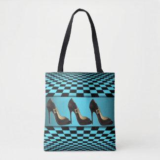 Teal Black Checker Board High Heels Design Tote Bag