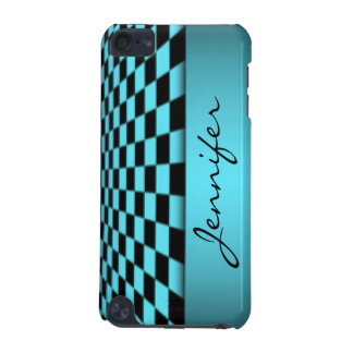 Teal Black Checker Board Pattern Print Design iPod Touch 5G Covers