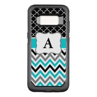 Teal Black Chevron Monogram OtterBox Commuter Samsung Galaxy S8 Case