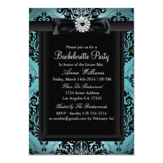 Teal & Black Chic Damask Bachelorette Party 13 Cm X 18 Cm Invitation Card