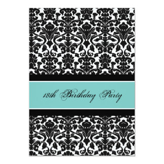 "Teal Black Damask 18th Birthday Party Invitations 5"" X 7"" Invitation Card"