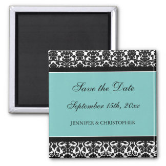 Teal Black Damask Save the Date Magnet