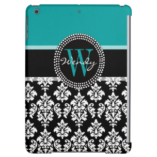 Teal, Black Damask Your Initial, Your Name