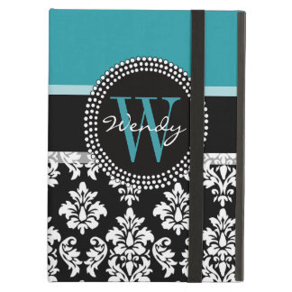 Teal, Black Damask Your Initial, Your Name Cover For iPad Air