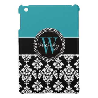 Teal, Black Damask Your Initial, Your Name iPad Mini Covers