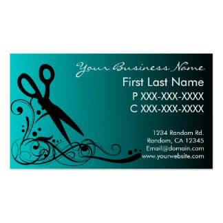 Teal black fade hair cutting business cards