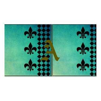 teal,black,fleur de lis,chic,elegant,pattern,trend pack of standard business cards