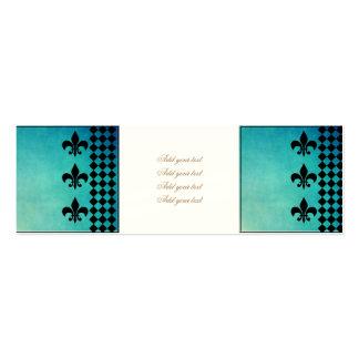 teal,black,fleur de lis,chic,elegant,pattern,trend pack of skinny business cards