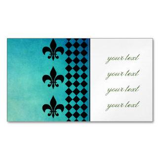 teal,black,fleur de lis,chic,elegant,pattern,trend magnetic business cards