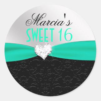 Teal Black Floral Damask Diamond Heart Seal Round Sticker