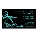 Teal black glitter swirl hair cut business cards