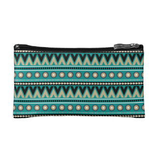 Teal Black Gold Aztec Stylish Small Cosmetics Bag Cosmetic Bags