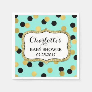 Teal Black Gold Confetti Baby Shower Paper Serviettes